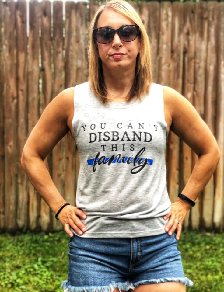 You Can't Disband This Family© Ladies Flowy Muscle Tank