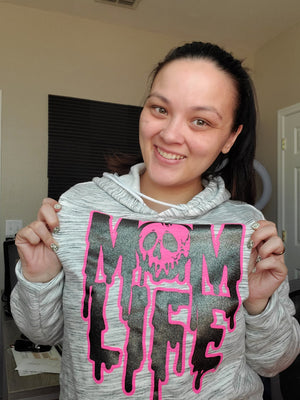 Mom Life Rotten Slime © Unisex Pullover Hoodie (Neon Pink + Black Glitter)