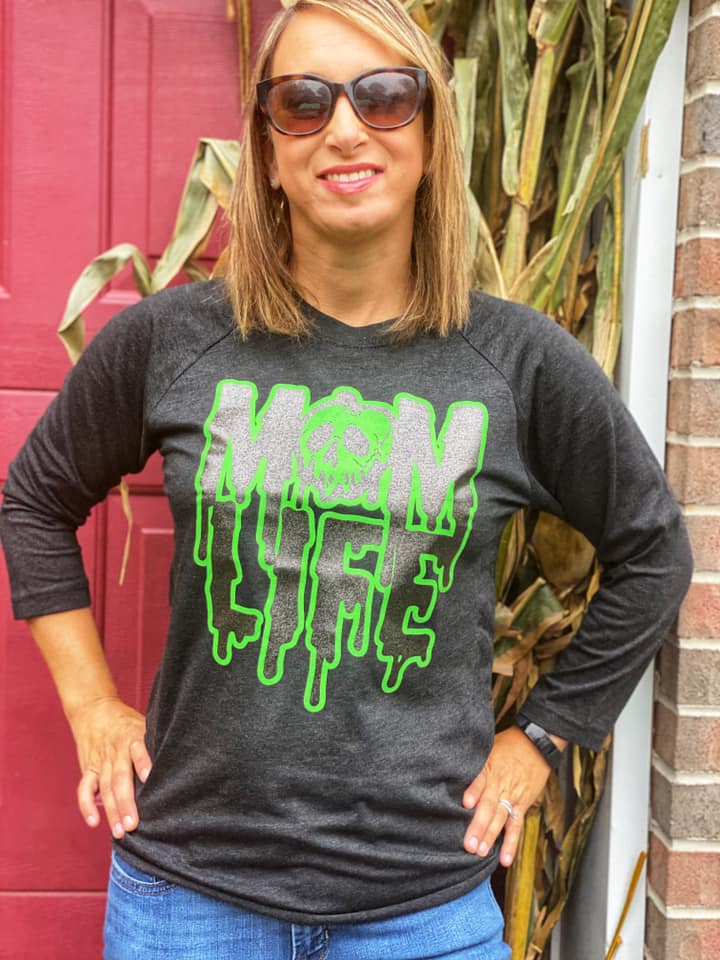 Mom Life Rotten Slime © Unisex Baseball Raglan (Black Heather)