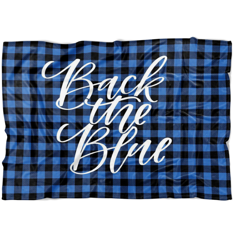 Back The Blue © Script Fleece Blanket (Buffalo Plaid)