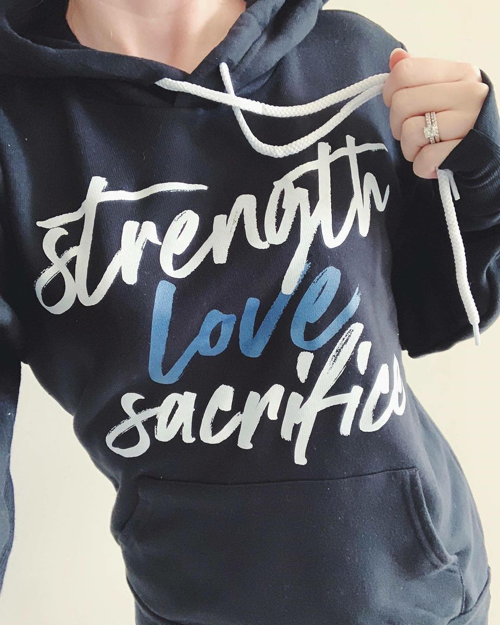 Strength Love Sacrifice© Unisex Hoodie (Thin Blue Line)