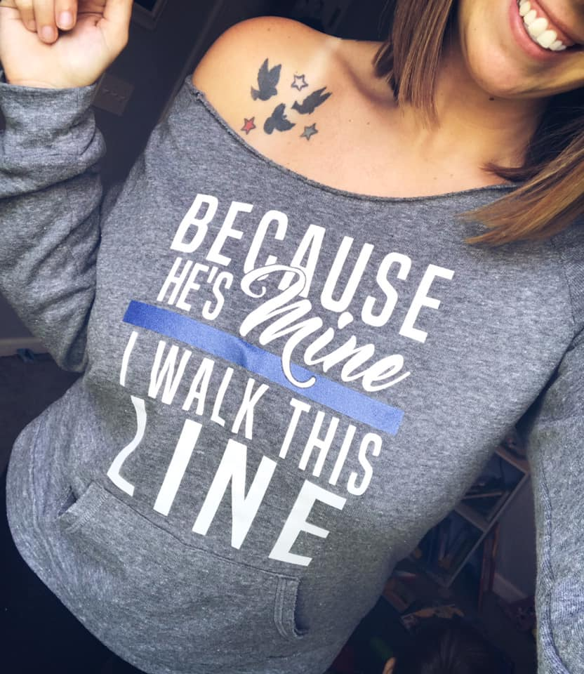 Because He's Mine (TBL) Ladies Slouchy Sweater (White/Blue Shimmer)
