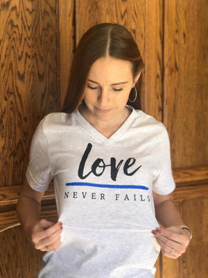 Love Never Fails Unisex V-Neck Top (Ash Gray + TBL)