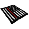 Distressed Thin Red Line Stars and Stripes Fleece Blanket