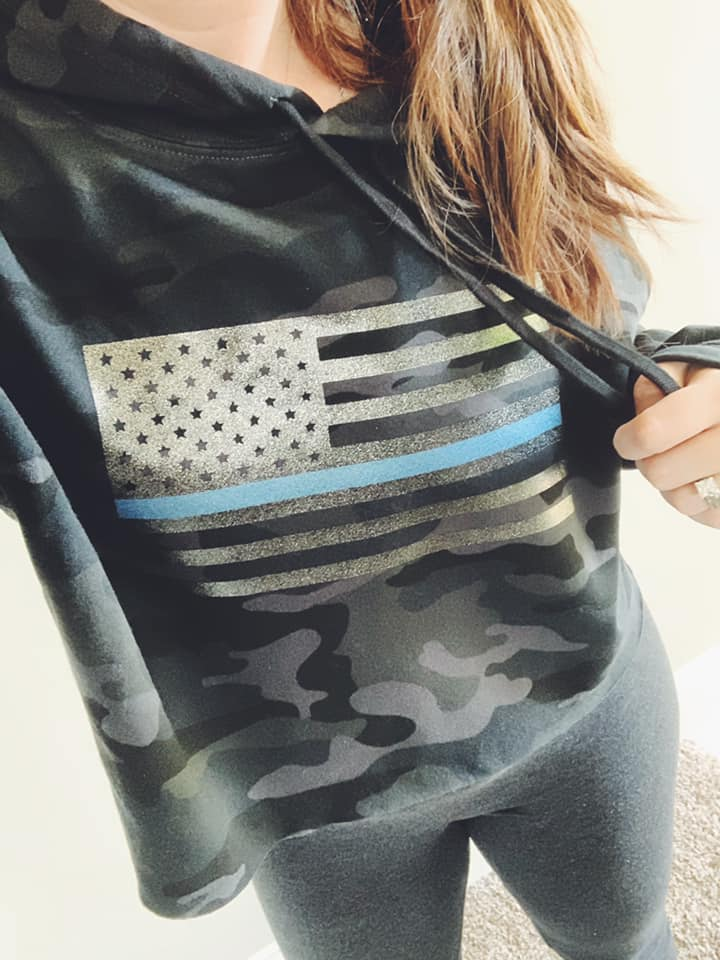 Standard Flag TBL Ladies Cropped Hooded Sweatshirt (Black Camo + Black Glitter/Blue Shimmer)