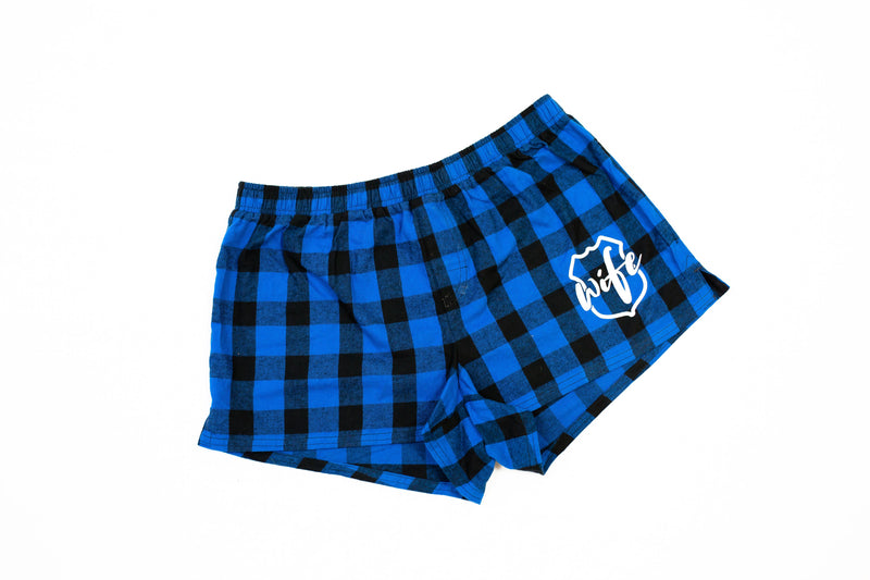Wife Emblem Pocket Print Ladies Flannel Shorts (Royal Blue/Black Buffalo)