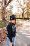 Heart On The Line © Embroidered Knit Beanie // Thin Blue Line