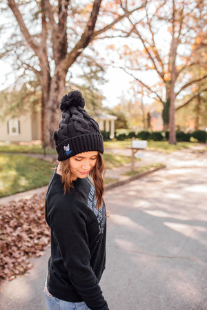 Back The Blue Script © Embroidered Chunk Twist Beanie