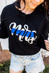 MRS Script Ladies Cropped Hooded Sweatshirt (Black + Select Your Line)