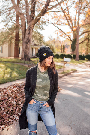 Heart On The Line © Embroidered Knit Beanie // Thin Gold Line