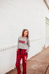 MAMA Buffalo Plaid © L/S Triblend Unisex Top (Athletic Heather + Black/Red)