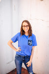 Wife Emblem Pocket Print Unisex Tee (True Royal + Navy)