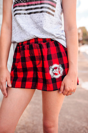 Maltese Cross Wife Emblem Pocket Print Ladies Flannel Shorts (Red/Black Buffalo)