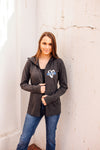 Wife Heart Pocket Print Ladies Cowl Neck Full Zip Fleece Hoodie (Select Your Line + Black Heather)