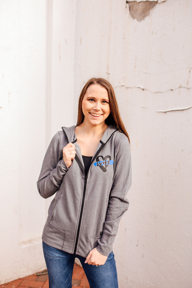 Wife Heart Pocket Print Ladies Cowl Neck Full Zip Fleece Hoodie (TBL + Shadow Grey)