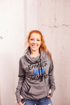 Strength Love Sacrifice © Ladies Cowl Neck Fleece Hoodie (TBL + Grey Heather)