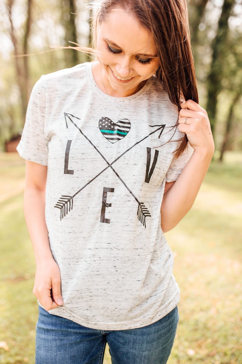 TGL Love Arrow Cross Unisex Top (White Marble)