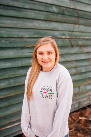 Faith Over Fear © Pocket Print Unisex Crewneck Sweatshirt (Thin Red Line)