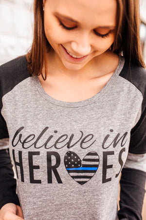 Believe In Heroes © Ladies Colorblock Baseball Tee (TBL + Shadow Grey/Black)