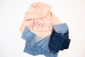 MAMA script Ladies French Terry Ombre Hoodie (Cameo + RGS)
