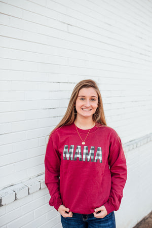MAMA Buffalo Plaid © Unisex Crewneck Sweatshirt (Cardinal Red + White/Black)