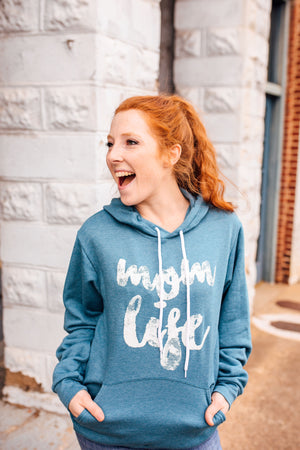 Mom Life Ember Unisex Pullover Hoodie (White)