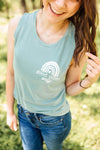 Good Vibes Only Ladies Flowy Muscle Tank (White)