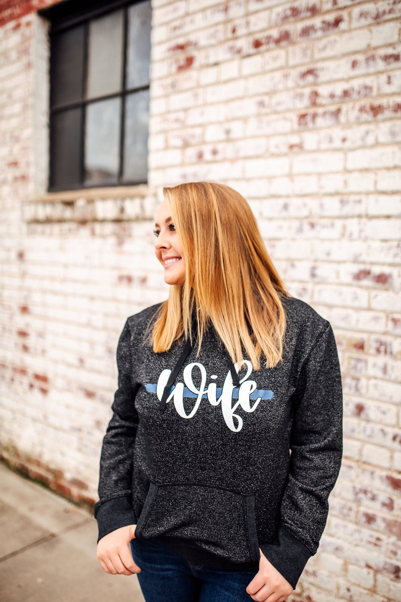 Wife Script Ladies Glitter French Terry Hoodie (TBL)