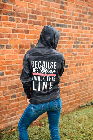 Because He's Mine Unisex Zip Hoodie (Black Camo + Thin Red Line)