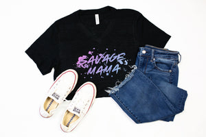 Savage Mama Unisex V-Neck Top (Ombré Glitter)