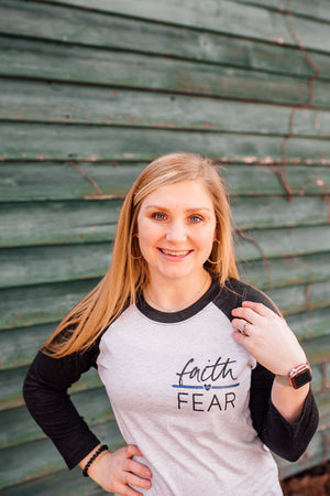 Faith Over Fear © Pocket Print Unisex Baseball Raglan (Thin Blue Line)