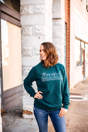 Thankful MAMA Unisex Crewneck Sweatshirt (Dark Teal + White)