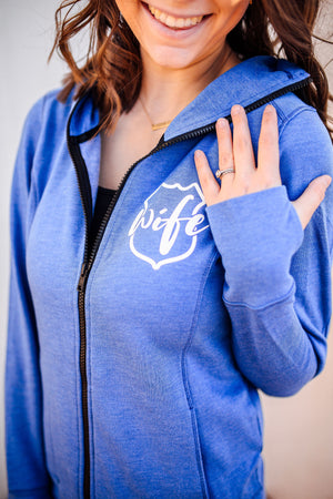 Wife Emblem Pocket Print Ladies Cowl Neck Full Zip Fleece Hoodie (Royal Blue)