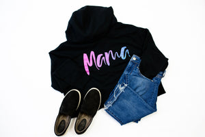 Mama Script Ladies Cropped Hooded Sweatshirt (Ombré Glitter)