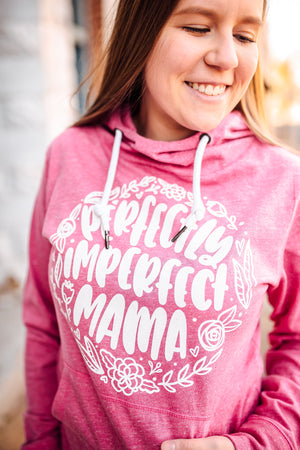 Perfectly Imperfect Mama Ladies Melange Funnel Neck Hoodie (White)