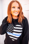 Grunge Flag Heart Flag Unisex Crewneck Sweatshirt (Black + Thin Blue Line)