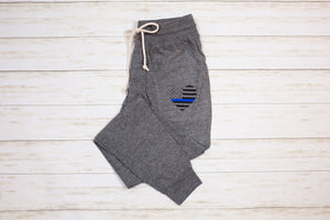Distressed Heart Flag Eco-Jersey™ Women's Jogger (Eco Grey + Select Your Line)