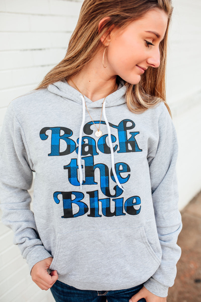 Back The Blue Script Unisex Pullover Hoodie (Buffalo Plaid)