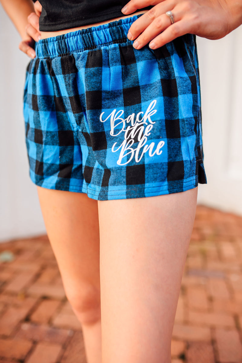 Back The Blue Script © Pocket Print Ladies Flannel Shorts (Royal Blue/Black Buffalo)
