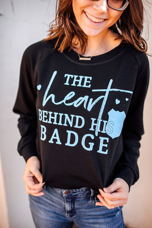 The Heart Behind His Badge Ladies French Terry Sweatshirt (Black + Columbia Blue)