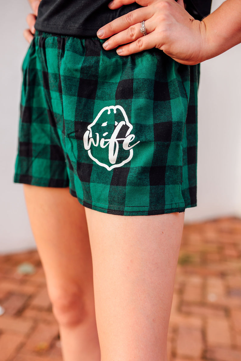 Wife Emblem Pocket Print © Ladies Flannel Shorts (Hunter Green/Black Buffalo)