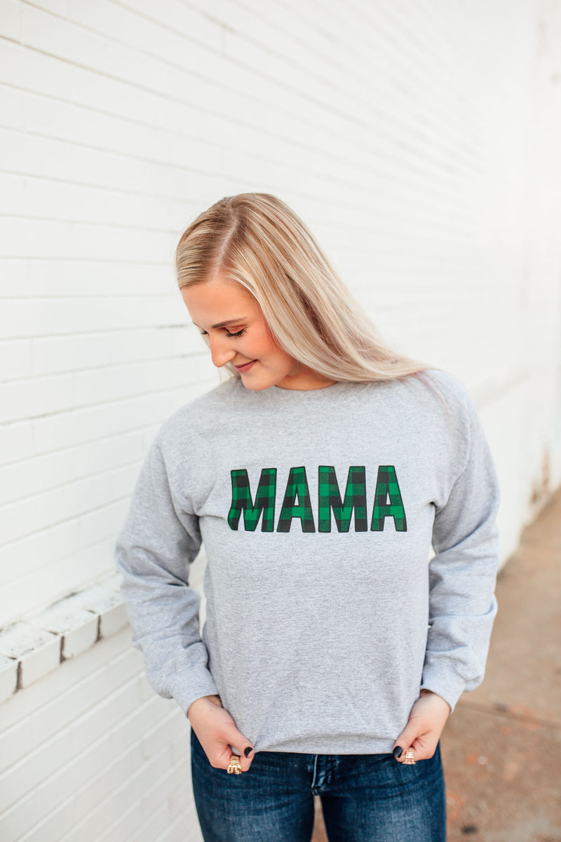 MAMA Buffalo Plaid © Unisex Crewneck Sweatshirt (Grey + Hunter Green/Black)