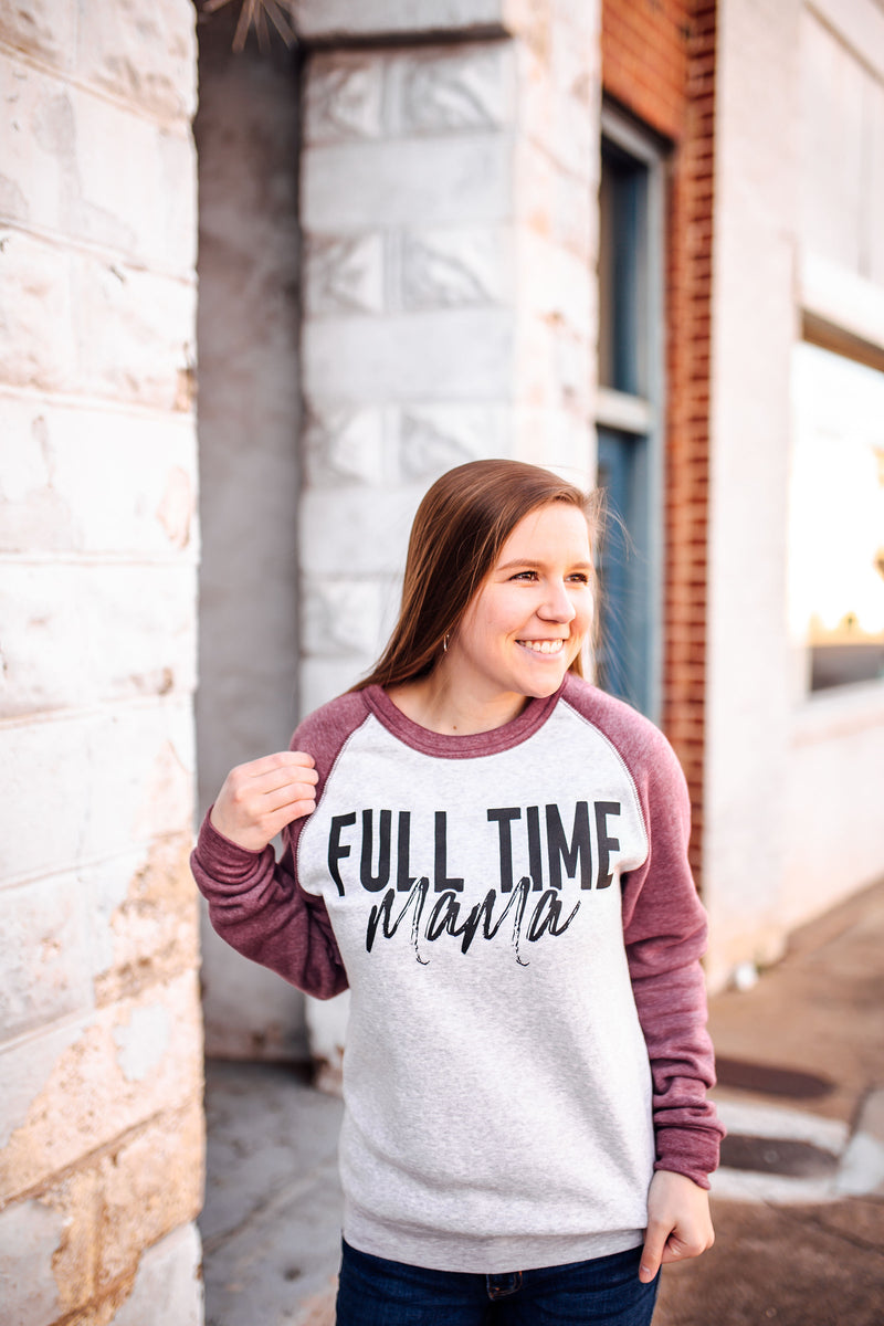Full Time Mama Unisex Crewneck Sweatshirt (Cardinal/Oatmeal + Black)