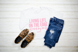 Living Life On The Edge Unisex Top (Coral)