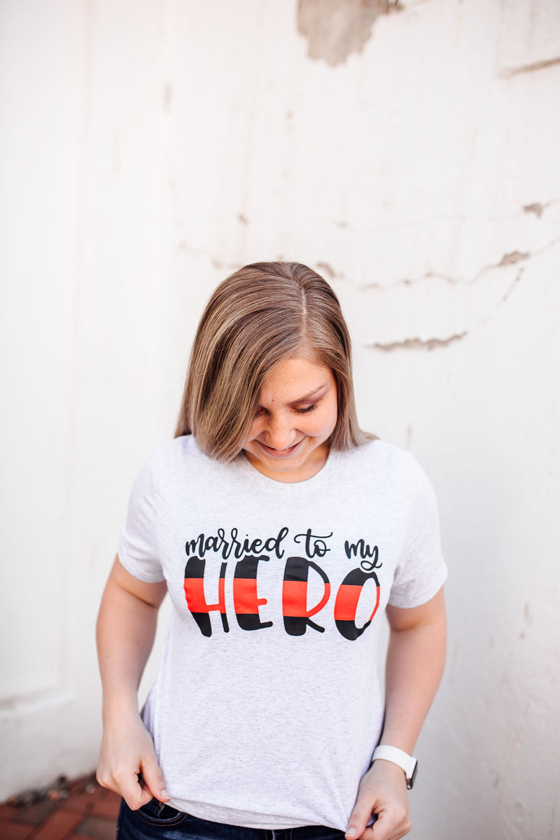 Married To My Hero© Unisex Top (Thin Red Line)