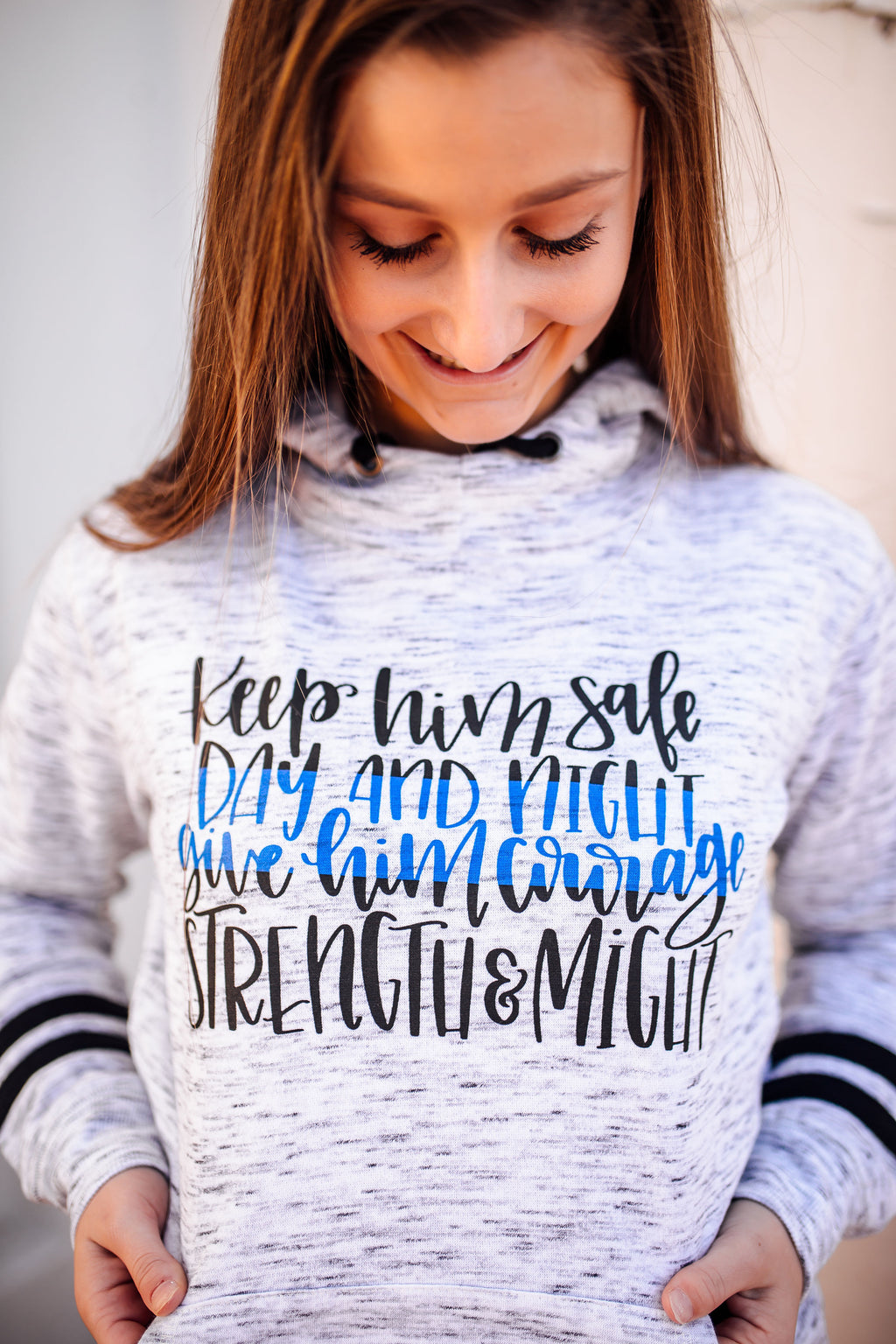 Keep Him Safe Day and Night Ladies Mélange Fleece Hoodie (TBL)