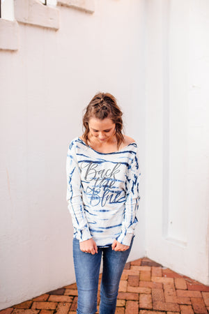 Back The Blue Script © Terry Off-the-Shoulder Pullover (Ombré Glitter)