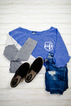 Wife Emblem Pocket Print (LEO) Ladies Terry Pullover (Cobalt)