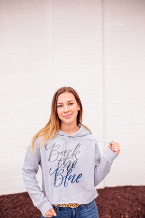 Back The Blue Script © Ladies Cropped Hooded Sweatshirt (Heather Grey + Ombré Glitter)