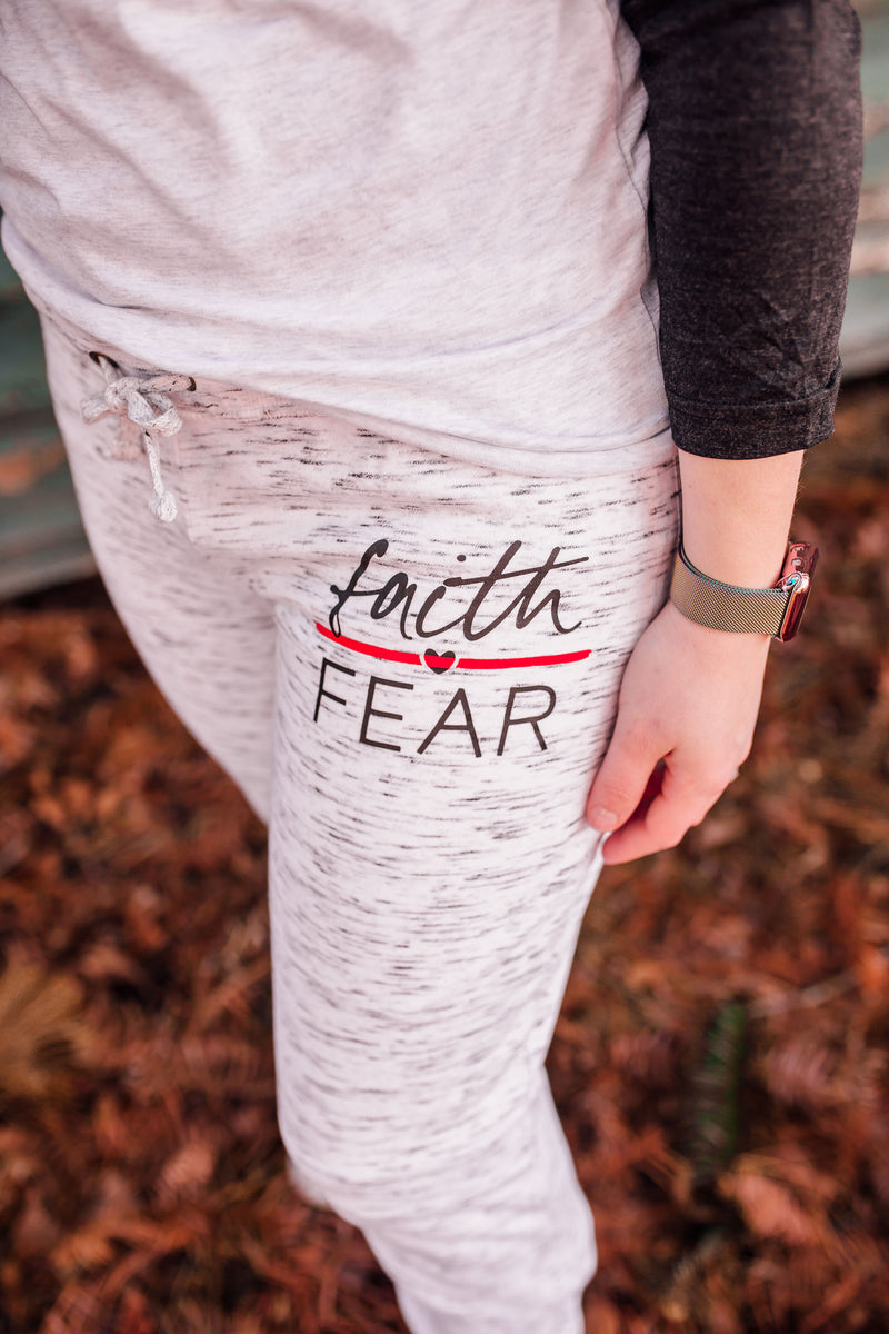 Faith Over Fear © Women's Melange Jogger (Thin Red Line) // Final Sale